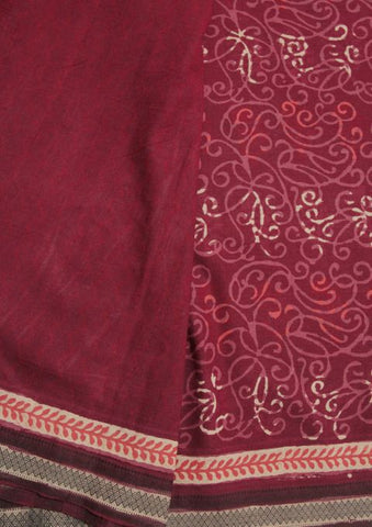 Maroon Block Printed Mangalagiri Cotton Saree