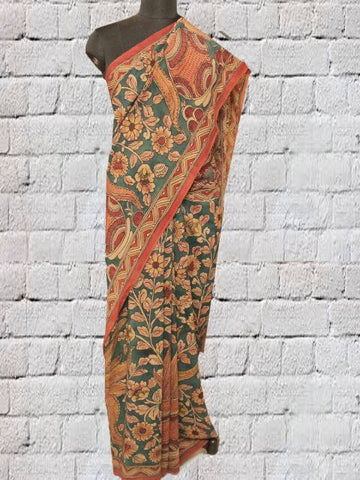 Blue Green Hand Painted Kalamkari Crepe Silk Saree
