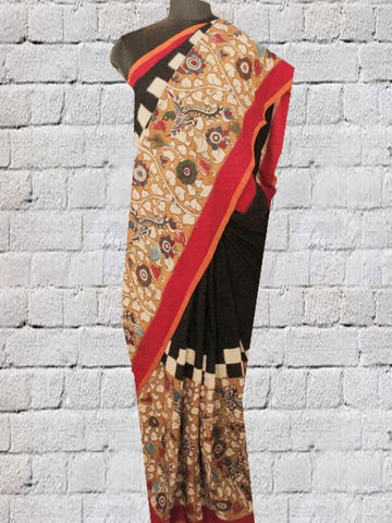 Mustard with black Hand Painted Ikat Kalamkari Saree