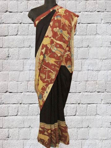 Village Theme - Black Kalamkari Crepe Silk Saree