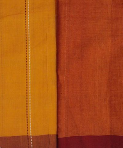 Yellow with brown Handwoven cotton Saree