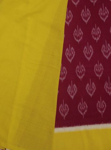 Pink With Yellow Handwoven Ikat Cotton Saree