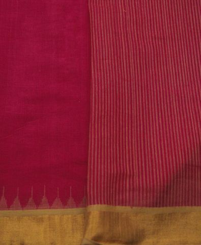 Pink with yellow temple border Kuppadam Saree
