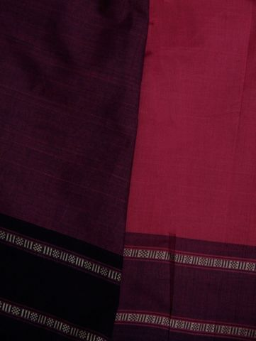 Purple With Blue Soft Cotton Handwoven Saree