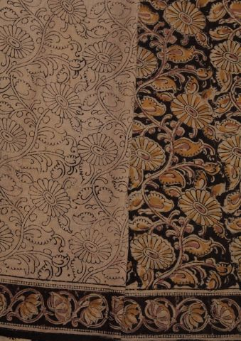 Black With Yellow Hand Printed Kalamkari Saree