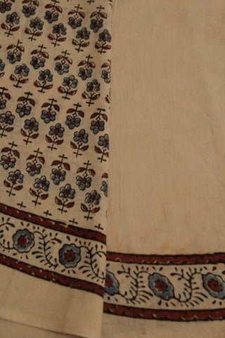 Cream with Indigo Flower Hand Printed Ajrak Soft Mul Cotton Saree