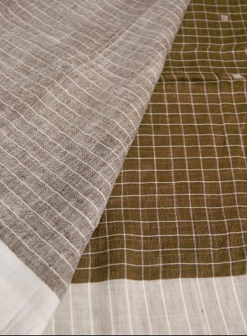 Brown With White Checks Linen Saree
