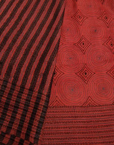 Red Intricate Hand Embroidered Kantha Silk Saree