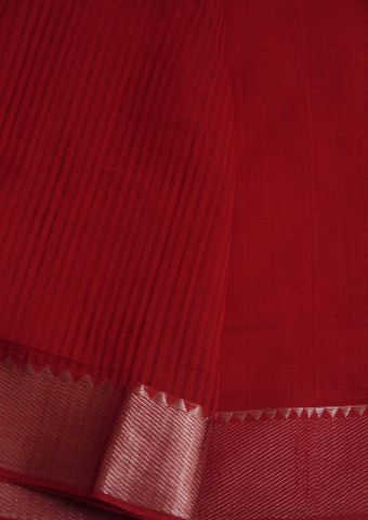 Reddish Pink With Silver Border missing weave Mangalagiri cotton saree