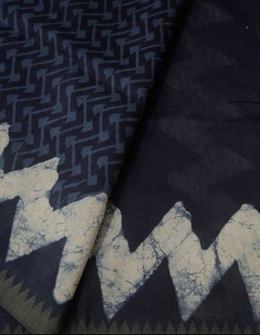 Indigo with Zigzags Border Dabu Print Chanderi Saree