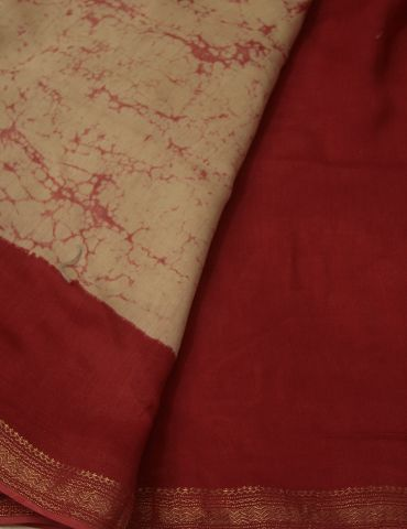 Beige with Red Tie and Dye Chanderi Saree