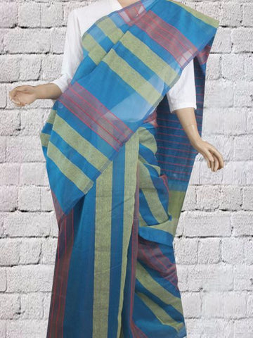 Dark Blue Kora Silk Cotton Saree with veritical stripes