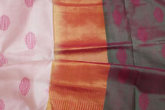 Off-white with Pink Handwoven Partly Pallu Pure Silk Saree
