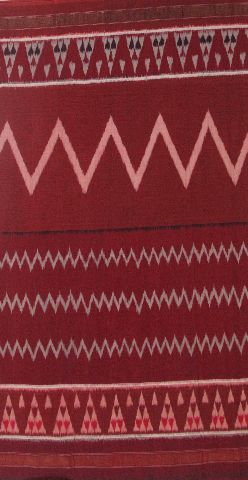 Dark Maroon Handwoven Ikat Cotton Saree