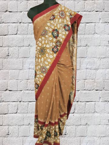 Brown with Mustard yellow Kalamkari Painted Ikat cotton Saree