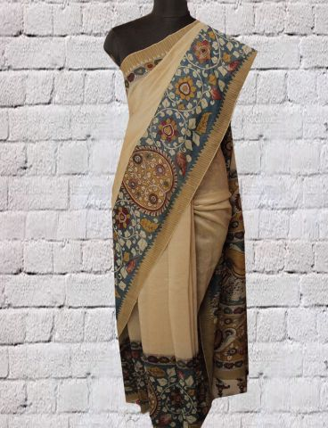 Beige With Indigo Floral Kalamkari Chanderi Saree