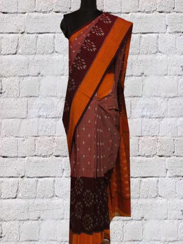 Maroon with orange Big Border Handwoven Ikat Cotton Saree