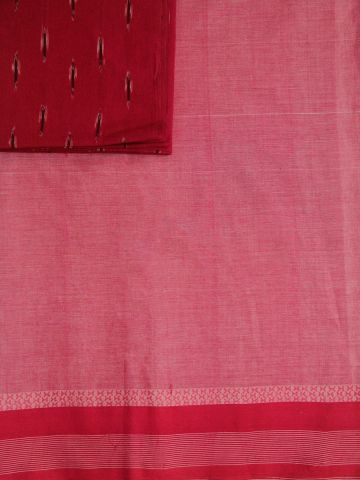Red Handwoven Cotton Saree with Butta Pallu