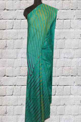 Green Leheriya Tussar Silk Saree