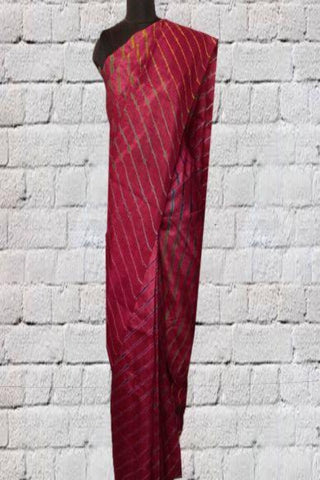 Dark Pink Leheriya Tussar Silk Saree
