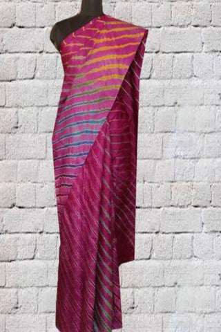 Purple Leheriya Tussar Silk Saree