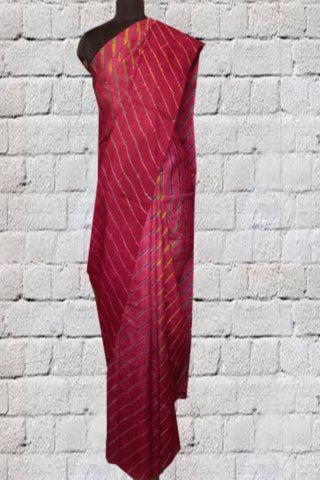 Maroonish Pink Leheriya Tussar Silk Saree