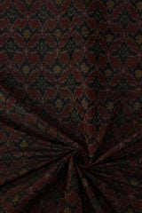 Black with Maroon subtle pattern Raw Silk Ikat Fabric