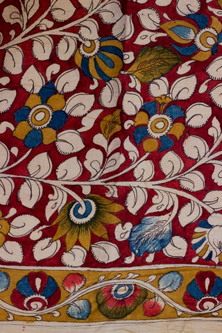 Maroon with Feugreek Border Hand Painted Bordered Kalamkari Fabric-2  m