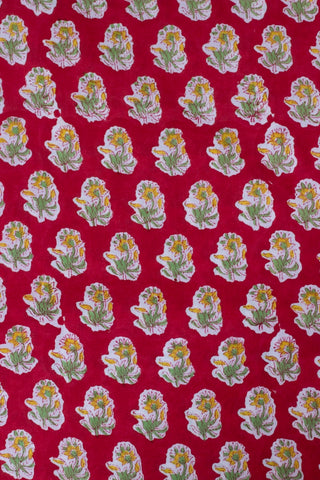Red with Yellow Small Flower Sanganeri Hand Block Printed Fabric