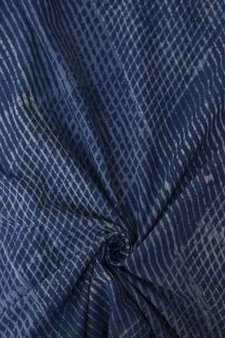 Indigo with Off White Cross Lines  Block Printed Cotton Fabric