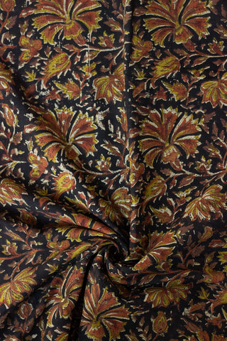 Black Floral Bagru Block Printed Cotton Fabric