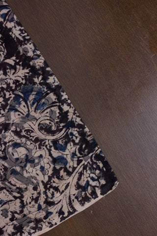 Black Floral Block Printed Kalamkari Fabric