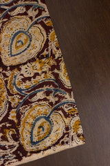 Deep Maroon Block Printed Kalamkari Fabric