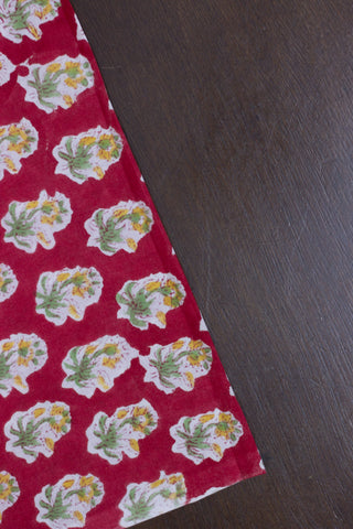 Red with Yellow Small Flower Sanganeri Hand Block Printed Fabric - 2.1