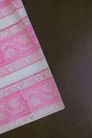 Pink with White Floral Stripes - Block Printed Mul Cotton Fabric-2 m