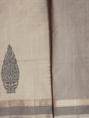 Intricate Motif Beige with Black Handwoven Coimbatore Cotton Saree