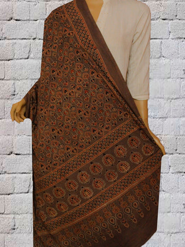 Brown Peepal Leaves Block Printed Ajrak Cotton Dupatta