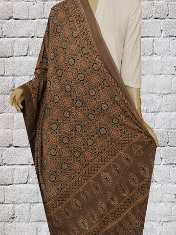Brown Stars block Printed Ajrak Cotton Dupatta