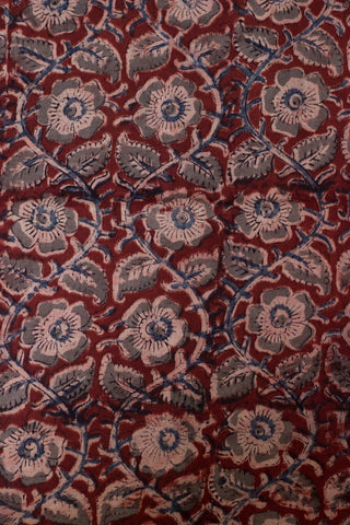 Maroon with Grey Floral Block Printed Kalamkari Fabric-2 m