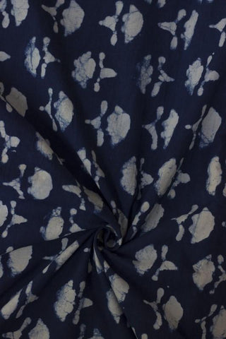 Indigo with Off White Floral Block Printed Cotton Fabric