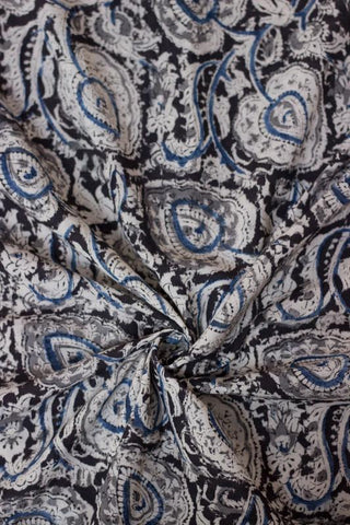 Black with Grey Big Leaf Printed Kalamkari Fabric