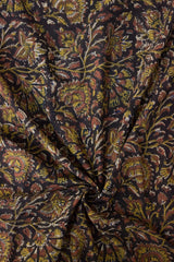 Black with Yellow Floral Bagru Block Printed Cotton Fabric