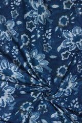 Off white Big Flower  Bagru Block Printed Cotton Fabric