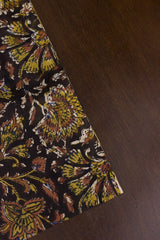 Black with Yellow Floral Bagru Block Printed Cotton Fabric-1.6 m