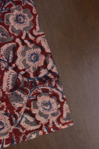 Maroon with Grey Floral Block Printed Kalamkari Fabric