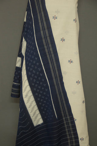 Off White with Indigo Jamdani Cotton Fabric with Handwoven Ikat Dupatta