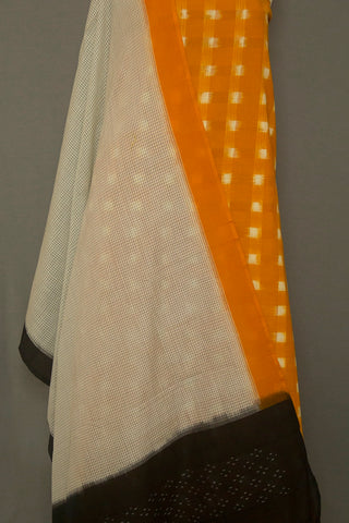 Mango Yellow Double Ikat Cotton Fabric with Handwoven Ikat Dupatta