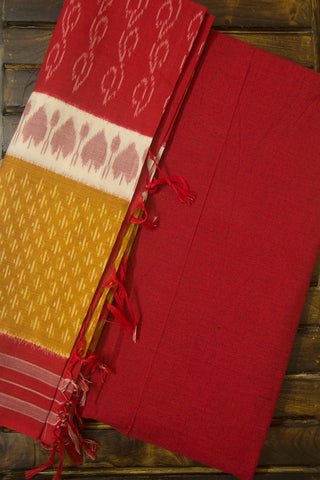 Yarn Dyed Handwoven Cotton Fabric with Handwoven Ikat Dupatta
