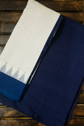 Blue Mangalagiri Handwoven Cotton Fabric with handwoven Ikat Dupatta