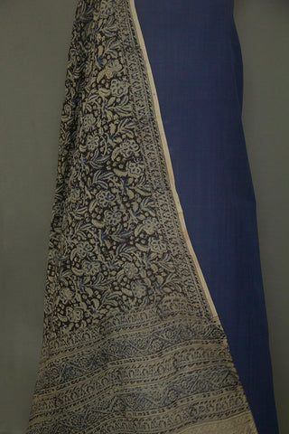 Blue Mangalagiri Cotton Fabric with Printed Kalamkari Bottom and Dupatta.